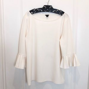 Ann Taylor Cream Bell Sleeve Blouse Size L